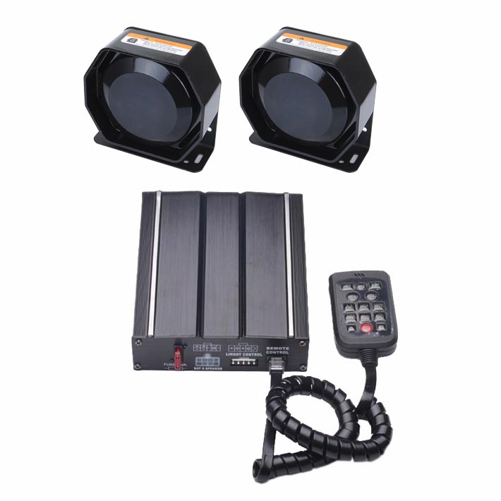 100W Vehicle Siren Kit with Speaker Wired Remote Microphone 20 Tones 12V DC