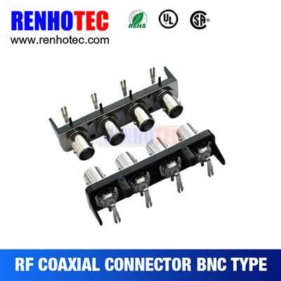 Right angle four BNC female connectors in one row with black