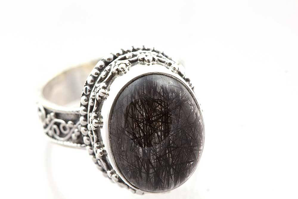 92.5 sterling silver Black Rutile Ring
