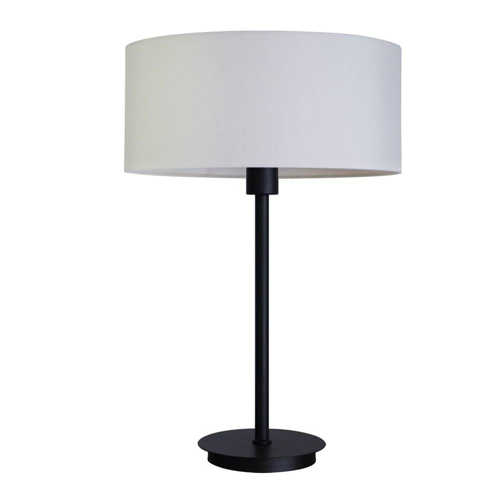 table lamp  in ebony bronze finish with belvedere bream fabric lamp shade