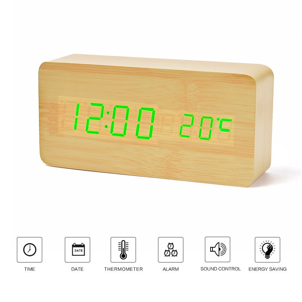 Digital Voice Control Rectangle LED Wooden Alarm Clock with Thermometer and Calendar