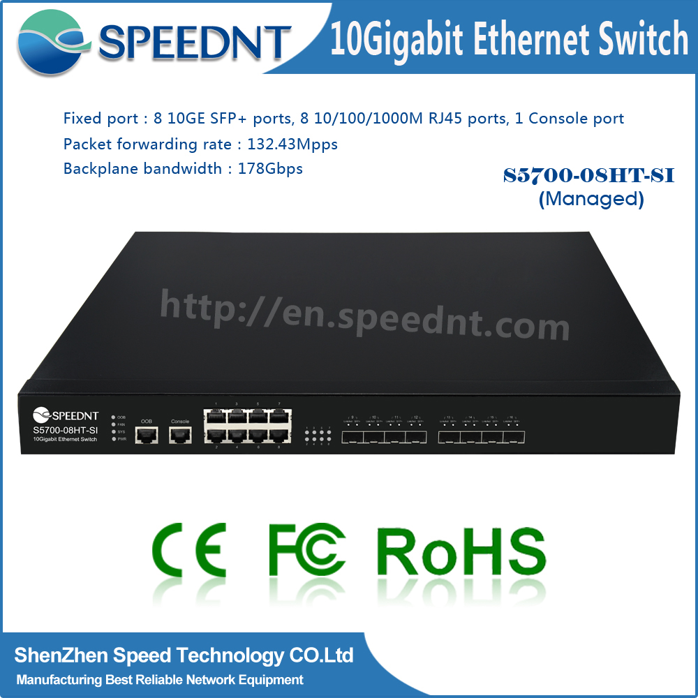 Speednt Managed Network Switches 210/100/1000M router 10g 8 port sfp managed layer 3 switch