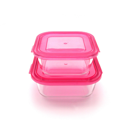 square type glass material food fresh container
