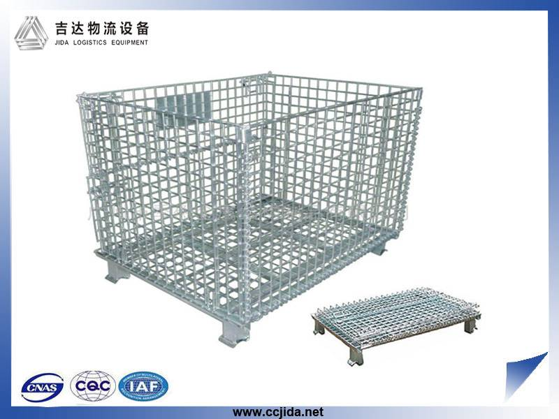 fixed steel storage cage container