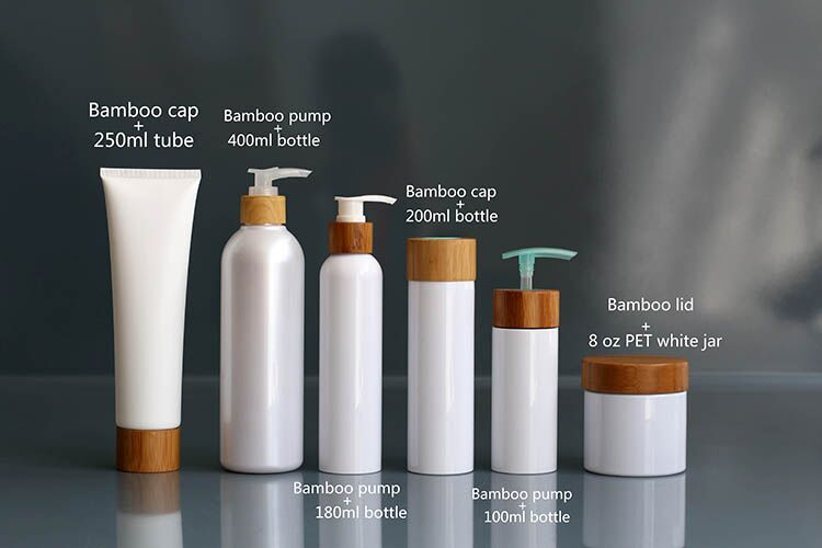 Skin Care Lotion Bottle Cream Jars With Bamboo Caps