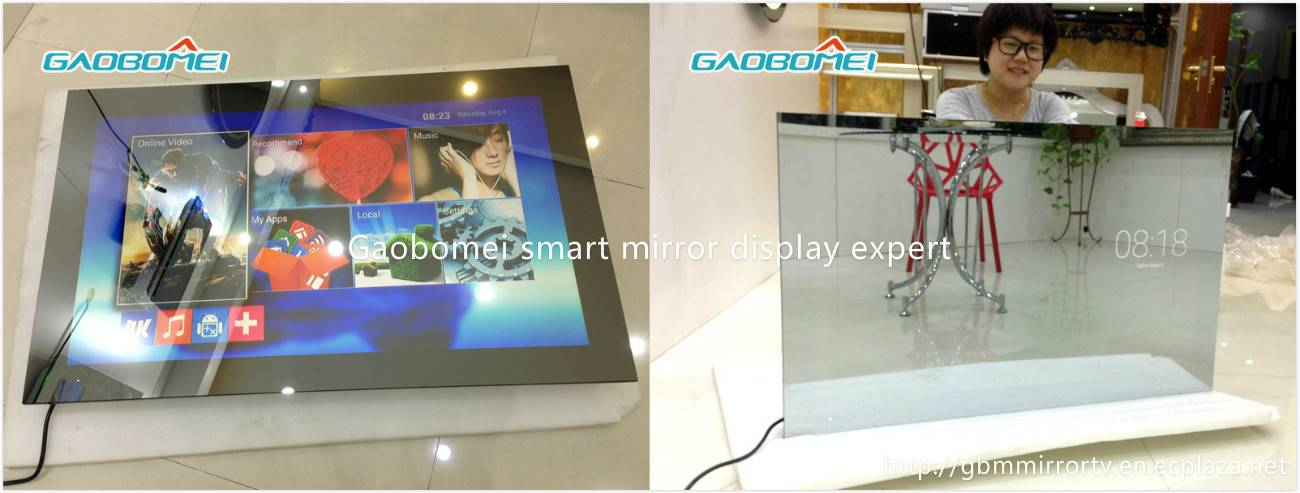 "Gaobomei 55"" AD Smart Mirror video display screen magic mirror with ad management software/wifi"