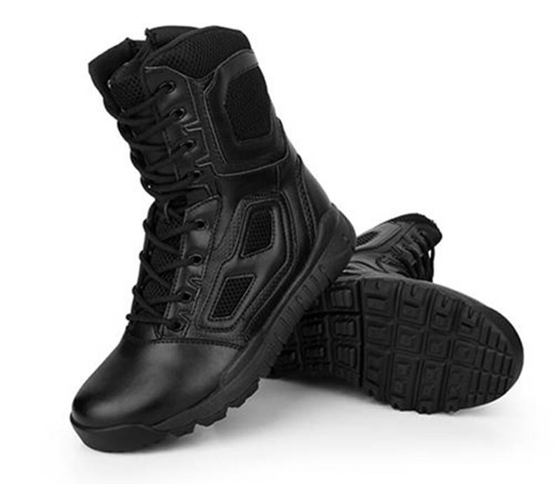 Military black color training boot, Tactical outdoor boot