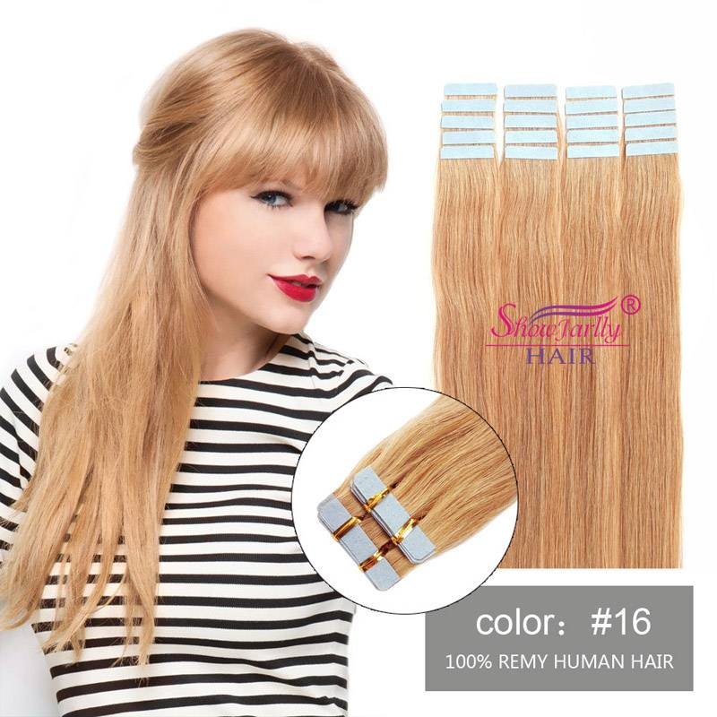 Skin Weft Human Hair #16 light golden blonde