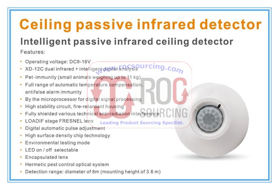 Intelligent Passive Infrared Ceiling Detector PIR Sensor Microwave Intrusion Alarm System