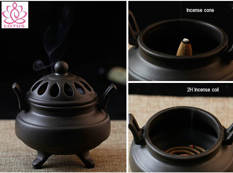 Chinese Ceramic Antique Incense Burner Sandalwood Incense Coil Cone Stove Furnace Censer Home Decor