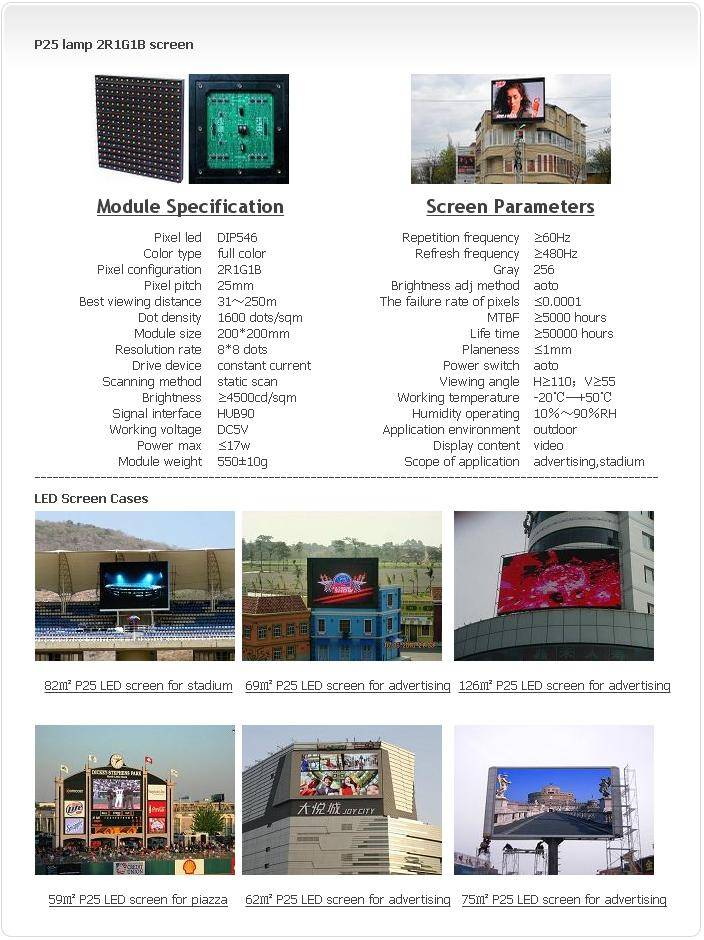 Outdoor P25 LAMP 2R1G1B LED screen