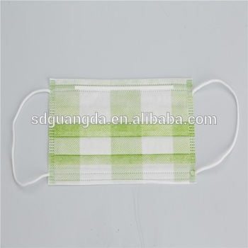 Disposable 3-ply ear-loop non woven printed face mask