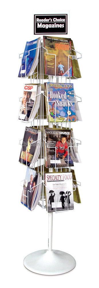 Book Store Floorstanding Magazine Display Racks with 32 Pockets
