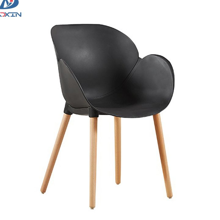 AL-821 Nordic leisure plastic cafe chair modern dining armchair with wooden legs
