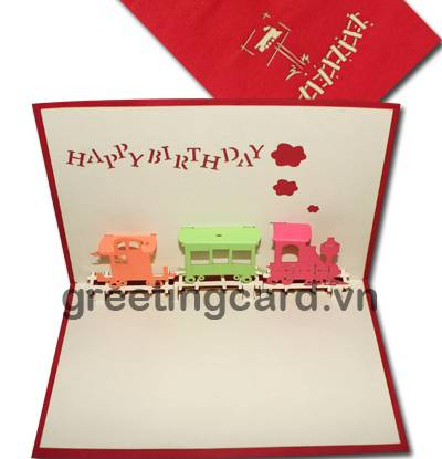 Colorful train 3D pop up greeting card