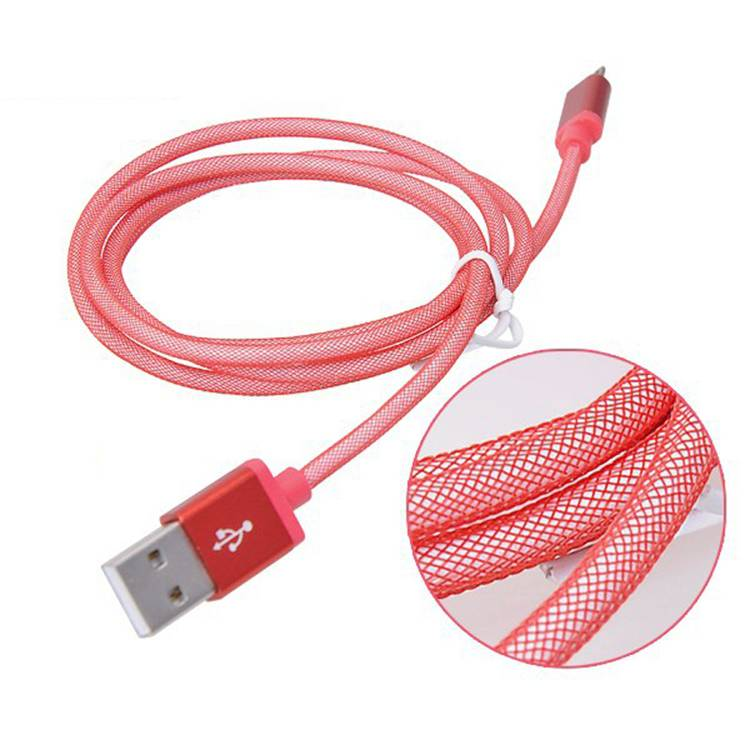 New Metal Alloy with Mesh Weave Fast Charging 1m mobile phone cable