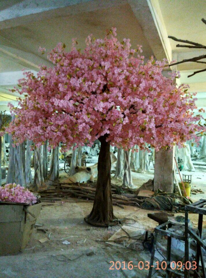Pink artificial silk cherry blossom tree for wedding decoration