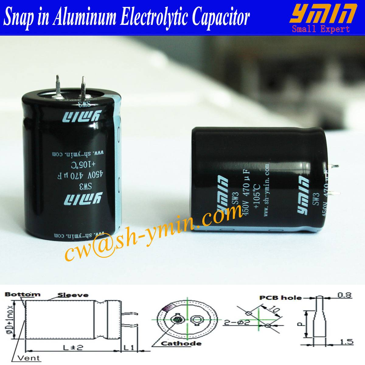 Battery Charger Capacitor Snap inElectrolytic Capacitor for GETC-EVDC