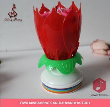 High quality red roating musical lotus flower candle