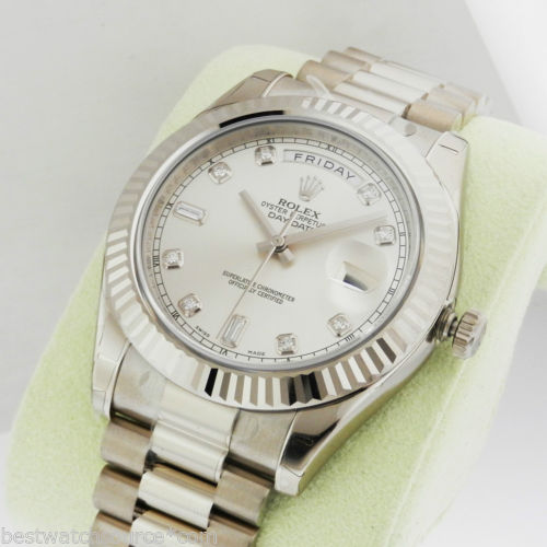 Brand New Rolex Day Date II 41mm White Gold Silver Diamond Dial 218239 Luxury Watch