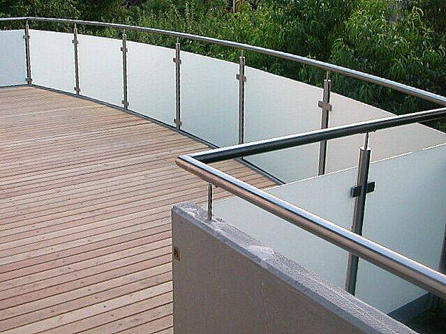 Outside balcony glass railing handrail