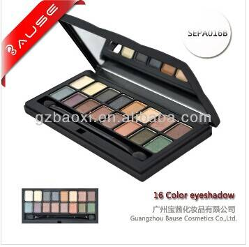 Makeup 16 color eyeshadow palette with brush and mirror made in china
