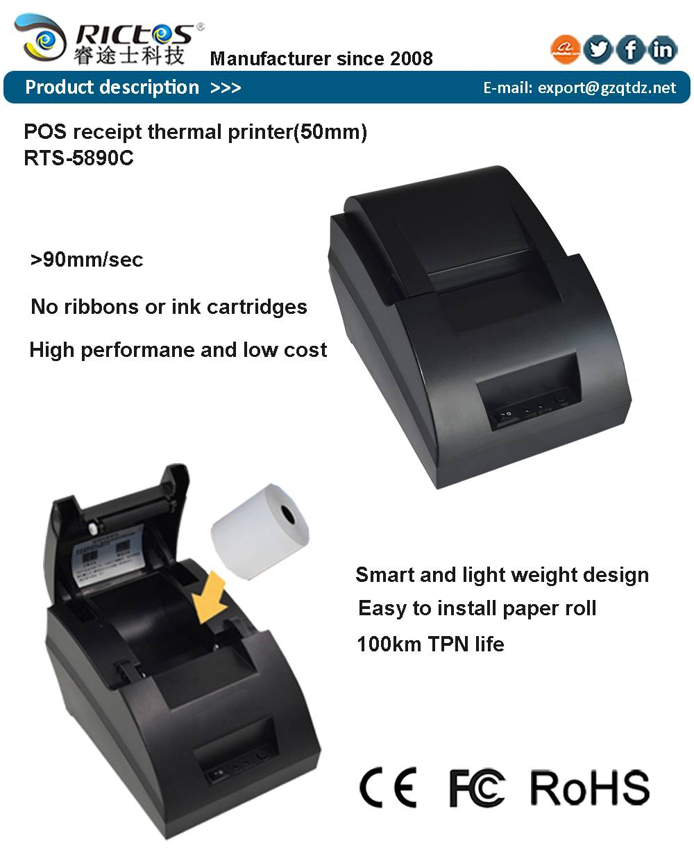 2 inch USB POS thermal printer for bill printing