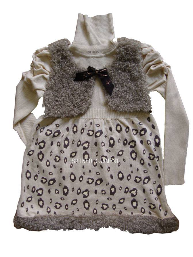 Shinvo fashion girl design knitting sweaters for kids