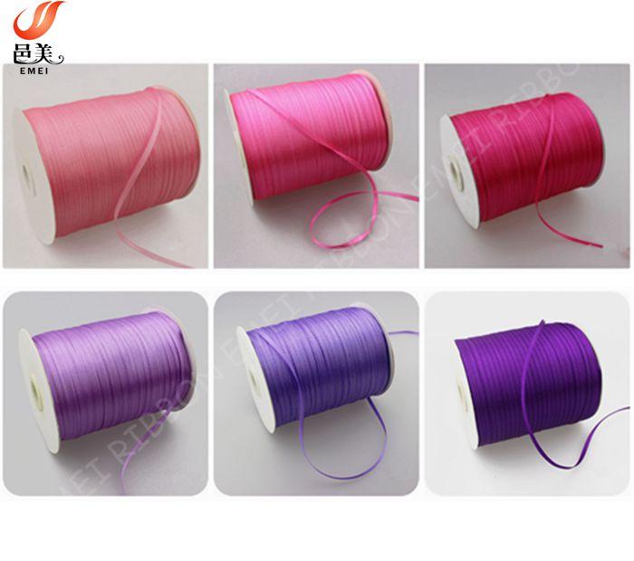 manufactory cheap price 100% polyester 3mm satin ribbon