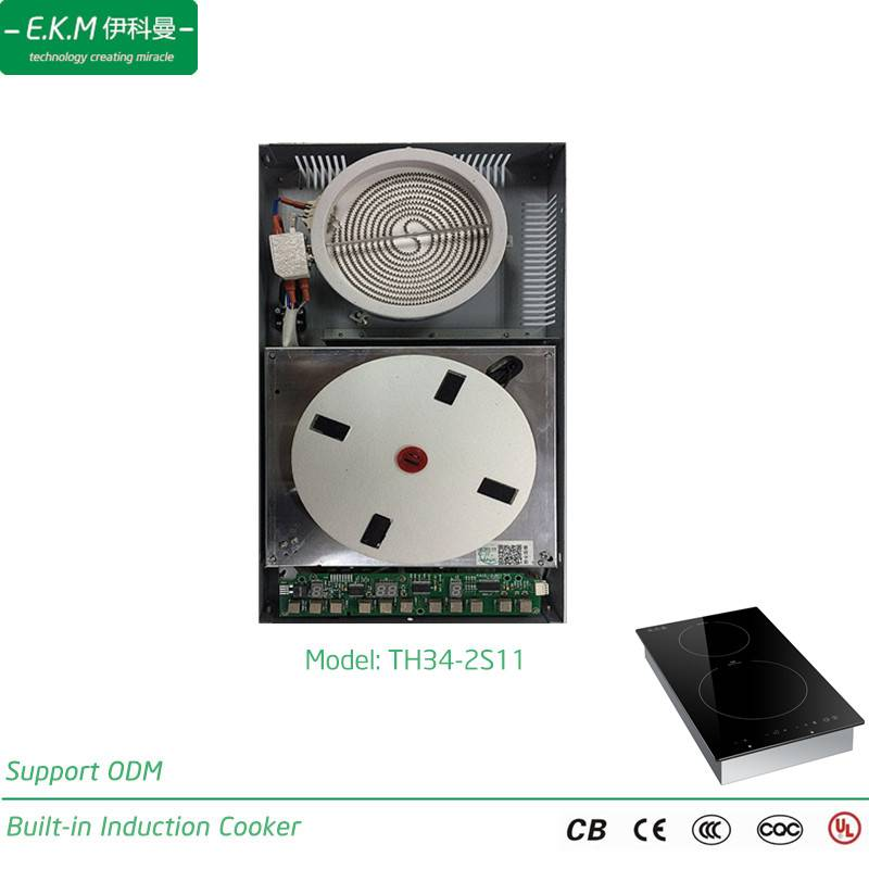 E. K. M Built-Indouble Burner Induction&Radiant Cooker, 3400W, Can Use 5 Years (TH34-2S11)