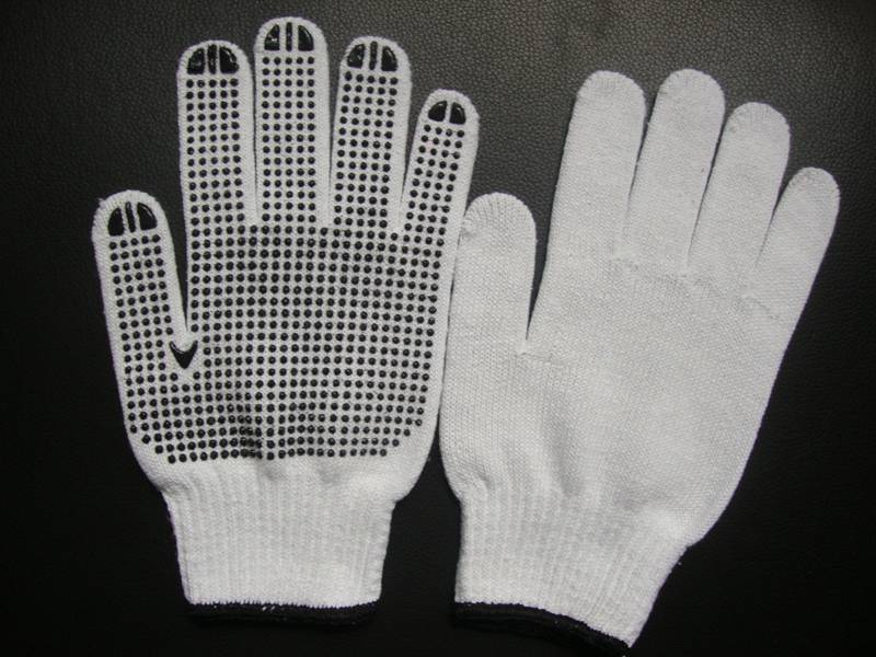 China factory supply good quality bleached pvc dots glove