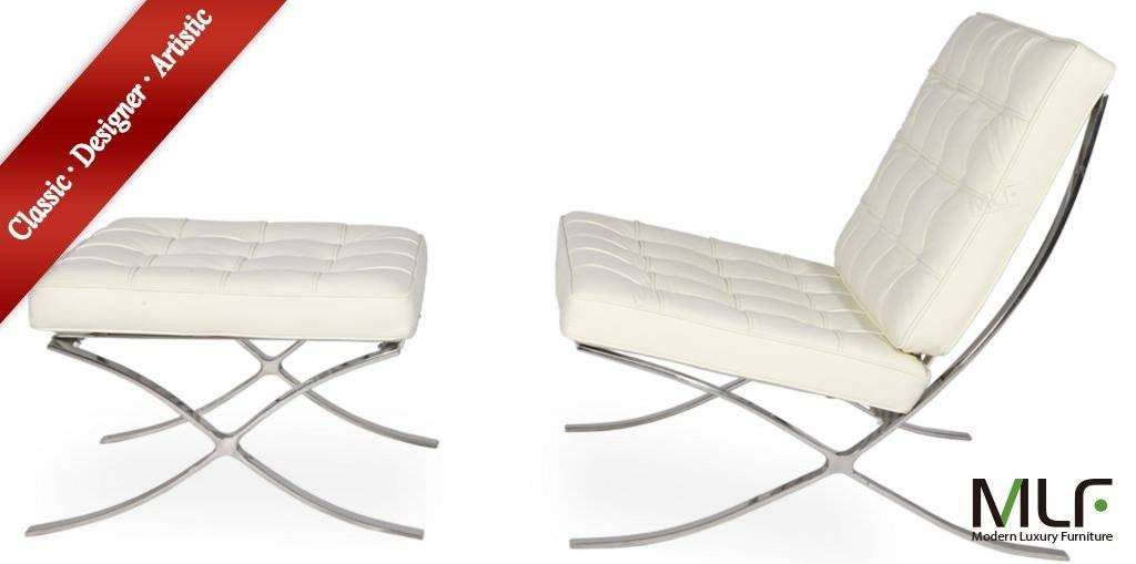 white aniline MLF Barcelona Chair & Ottoman