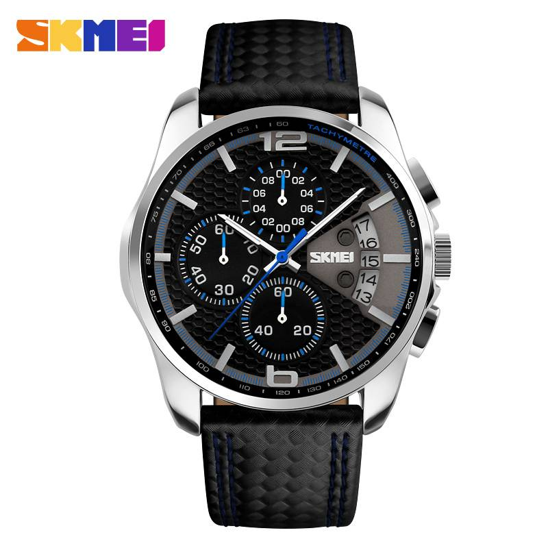 three atm water resistant quartz men wrist watches with calender