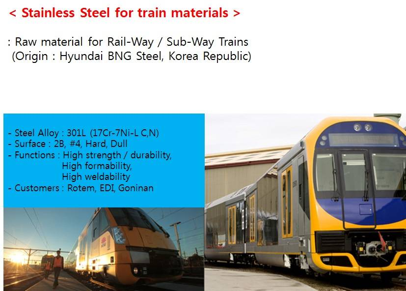 Stainless Steel for Train Materials