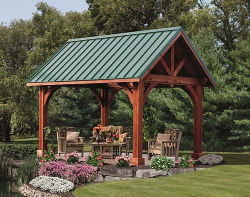 solid wooden gazebo with modern designs