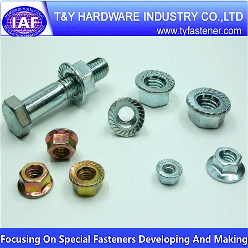 Hexagon head flange bolts , DIN933/931 H.D.G / Galvanized with black /yellow zinc plated/blue white