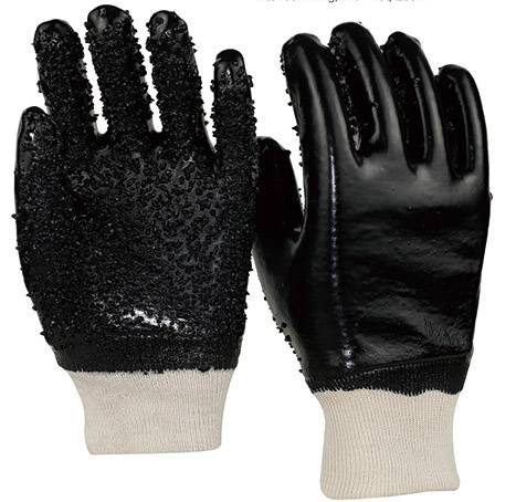 26cm black pvc gloves with chips on palm and fingers