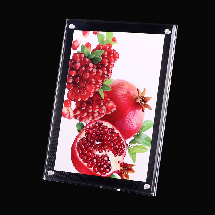 Free standing acrylic double sides photo frame clear pmma poster display stand