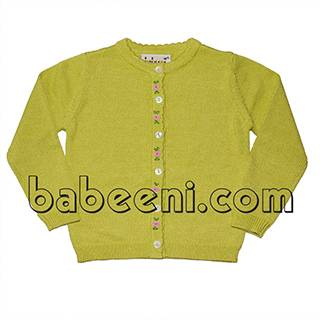 Lime green embroidered sweater for little girll - BB504