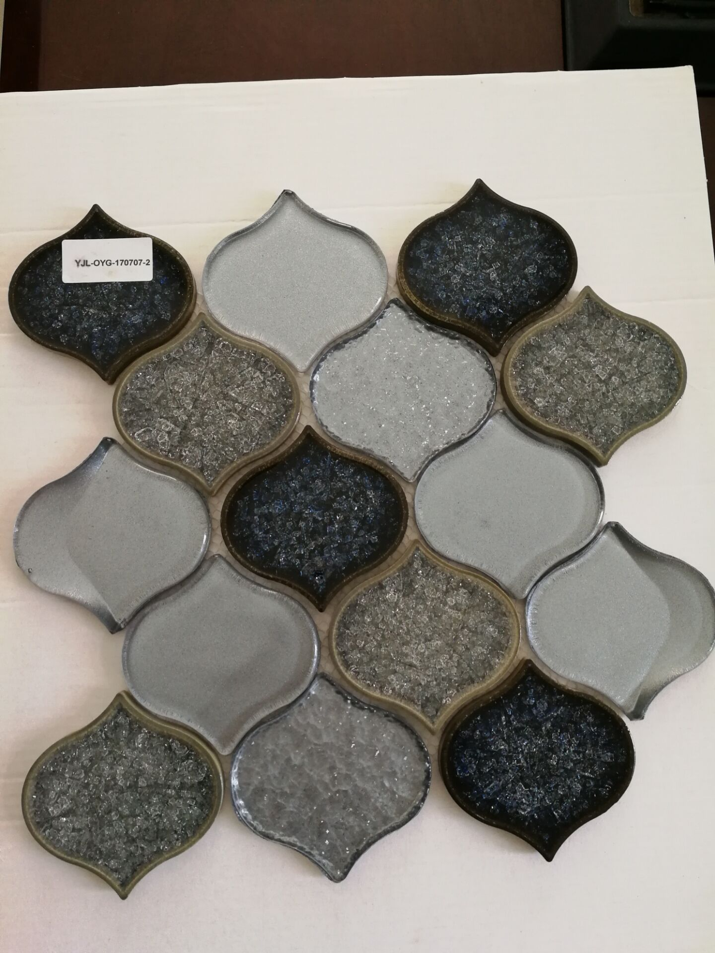 New Arrival gray color waterdrop porcelain mix cast glass mosaic tile