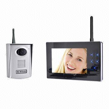 Wireless 2.4GHz Video Door Phone Manufacture, 7-inch, Mirror Surface, Recording, 300m Distance,Color