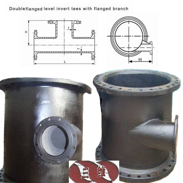 Ductile Iron Pipe Fitting All flanged Lever Invert Tee