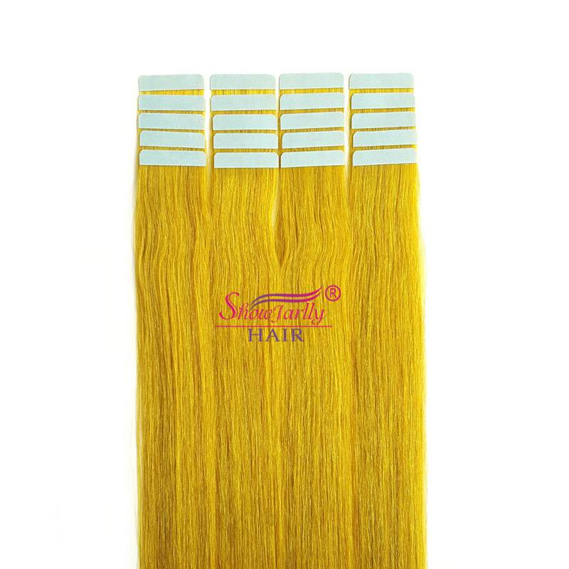 PU skin weft hair extensions yellow color