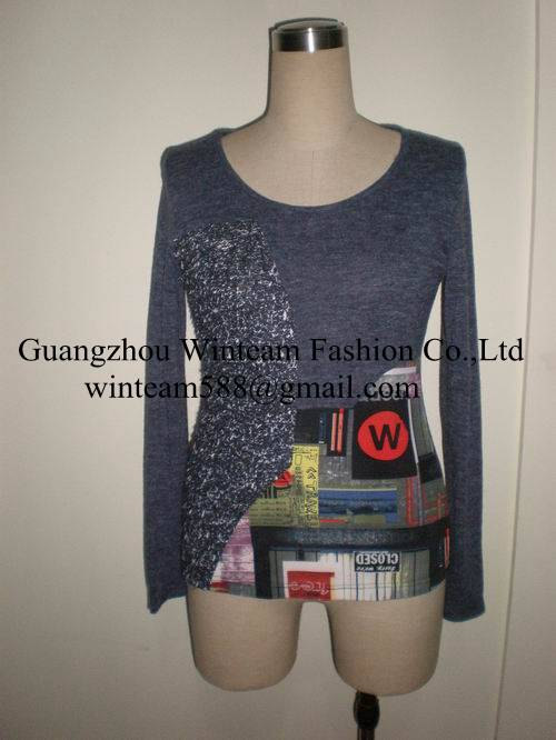 2014 new arrival product women knitted top wear from china garment factory