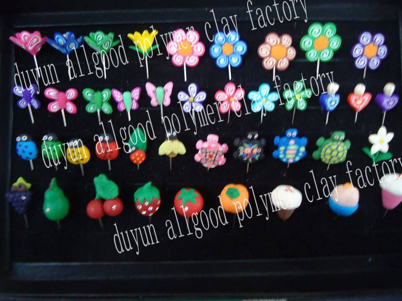 various designs polymer clay flower hijab pin
