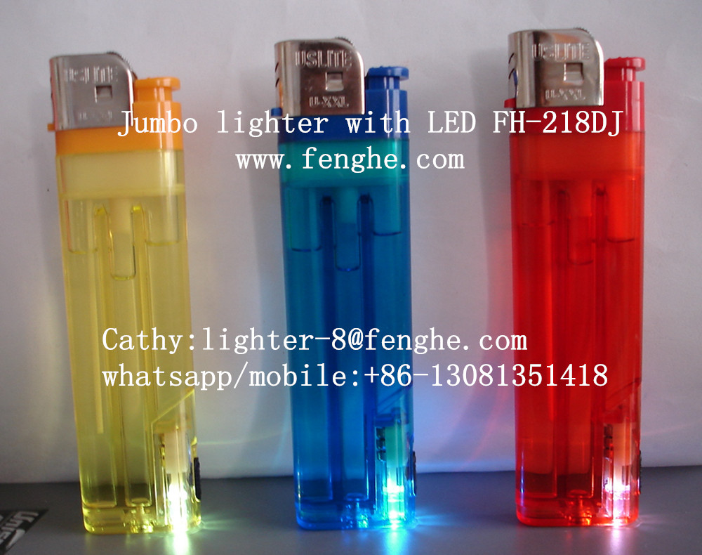 FH-218 super big lumbo lighter disposable flint lighter with LED/flashlight