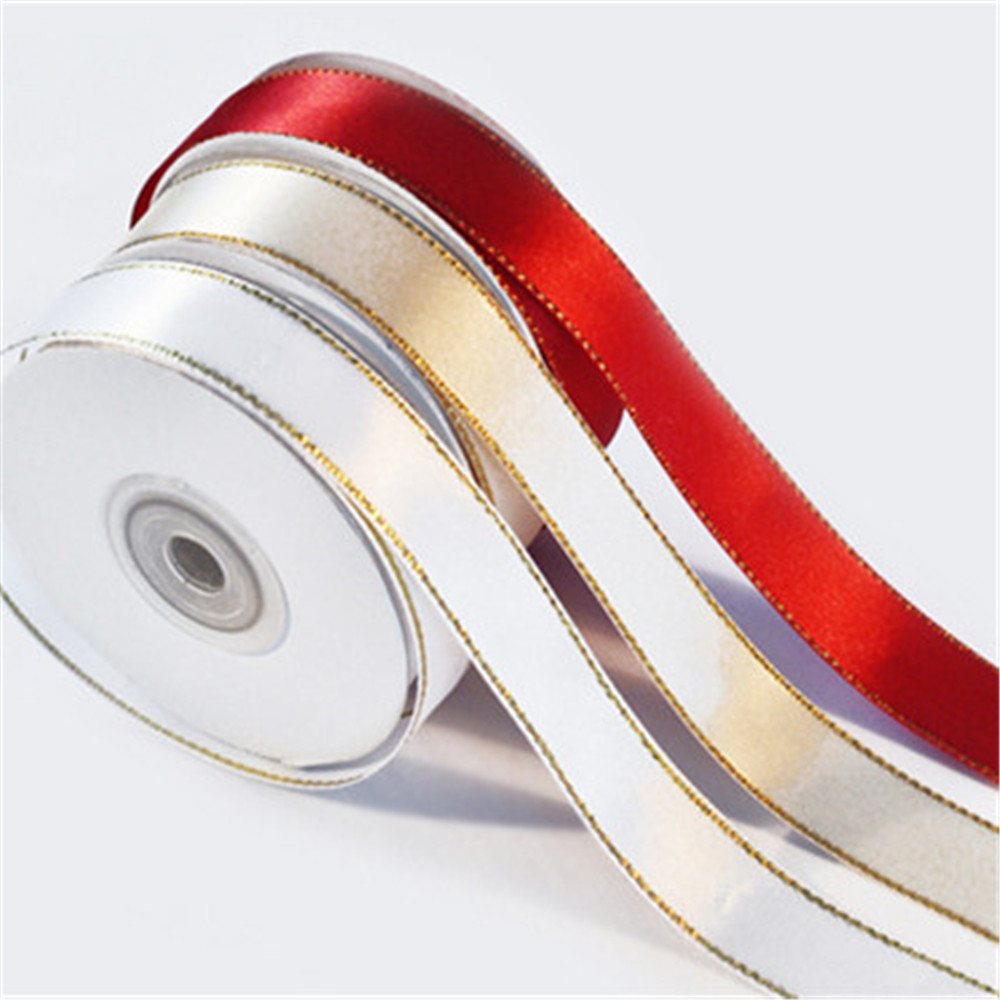 Wholesale high quality satin ribbon with gold line