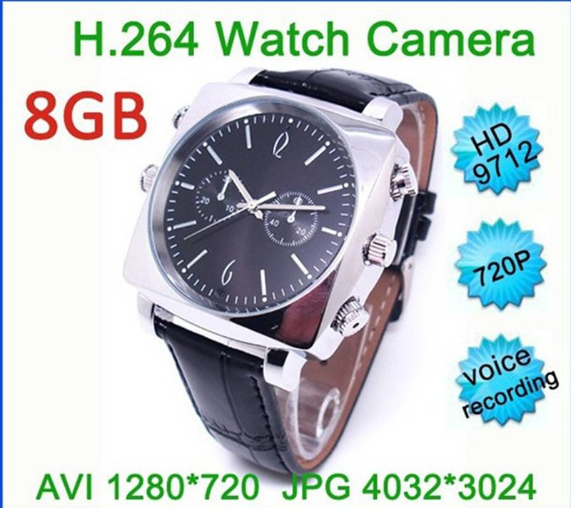 Mini DV Waterproof watch Spy camera Built-in 8GB Memory HD 1280*720 Vhidden watch camera spy Wrist W