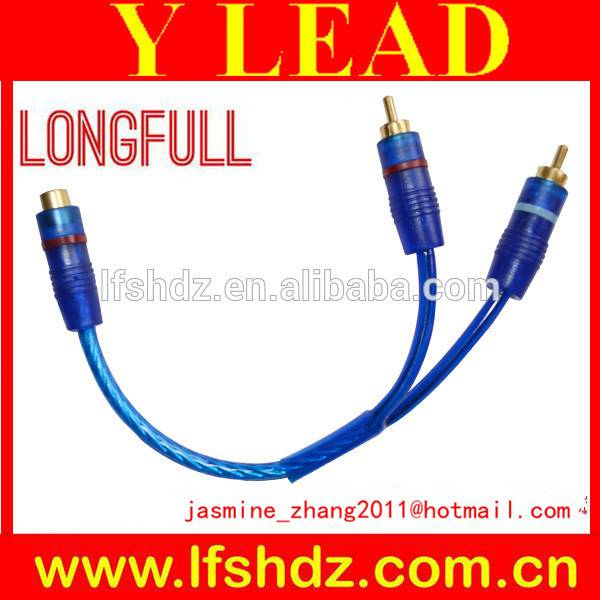 transparent clear blue Y shaped lead cable(1rca female to 2rca male)
