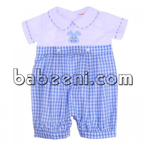 Cute bunny embroidered little boy outfits